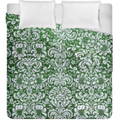 Damask2 White Marble & Green Leather Duvet Cover Double Side (king Size)