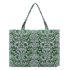 Damask2 White Marble & Green Leather Medium Tote Bag