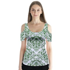 Damask1 White Marble & Green Leather (r) Butterfly Sleeve Cutout Tee