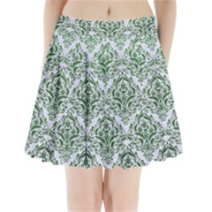 Damask1 White Marble & Green Leather (r) Pleated Mini Skirt