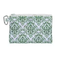 Damask1 White Marble & Green Leather (r) Canvas Cosmetic Bag (large) by trendistuff