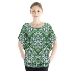 Damask1 White Marble & Green Leather Blouse