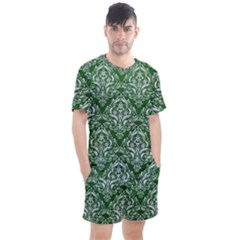 Damask1 White Marble & Green Leather Men s Mesh Tee And Shorts Set