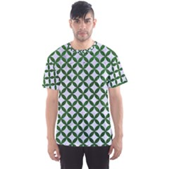 Circles3 White Marble & Green Leather (r) Men s Sports Mesh Tee