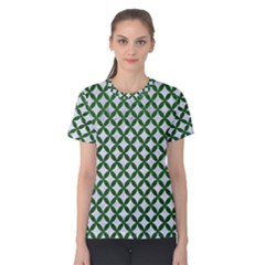 Circles3 White Marble & Green Leather (r) Women s Cotton Tee