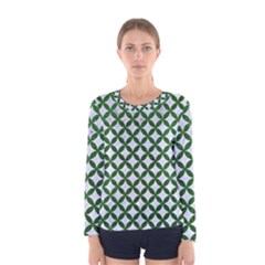 Circles3 White Marble & Green Leather (r) Women s Long Sleeve Tee