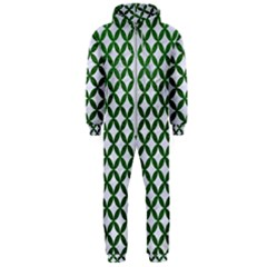 Circles3 White Marble & Green Leather (r) Hooded Jumpsuit (men)