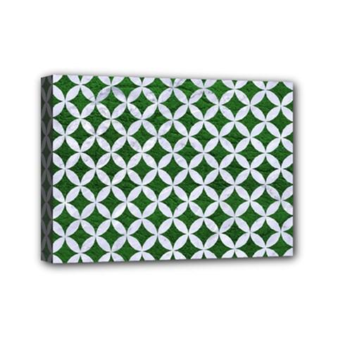 Circles3 White Marble & Green Leather Mini Canvas 7  X 5