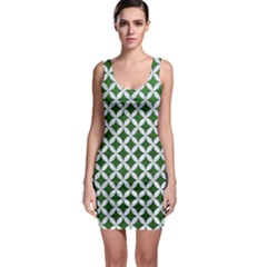 Circles3 White Marble & Green Leather Bodycon Dress