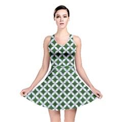 Circles3 White Marble & Green Leather Reversible Skater Dress