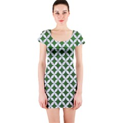 Circles3 White Marble & Green Leather Short Sleeve Bodycon Dress