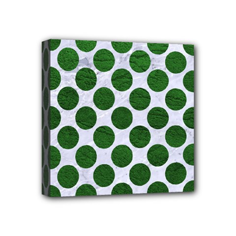 Circles2 White Marble & Green Leather (r) Mini Canvas 4  X 4