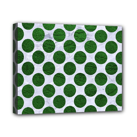 Circles2 White Marble & Green Leather (r) Canvas 10  X 8  by trendistuff