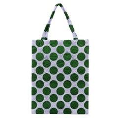 Circles2 White Marble & Green Leather (r) Classic Tote Bag