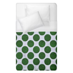 Circles2 White Marble & Green Leather (r) Duvet Cover (single Size)