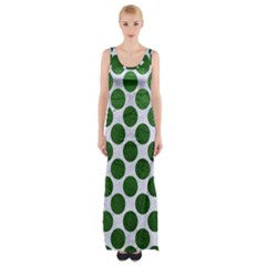 Circles2 White Marble & Green Leather (r) Maxi Thigh Split Dress by trendistuff