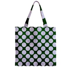 Circles2 White Marble & Green Leather Zipper Grocery Tote Bag