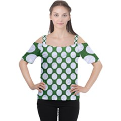 Circles2 White Marble & Green Leather Cutout Shoulder Tee