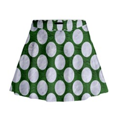 Circles2 White Marble & Green Leather Mini Flare Skirt