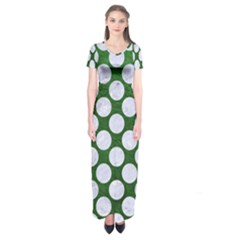 Circles2 White Marble & Green Leather Short Sleeve Maxi Dress