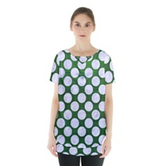 Circles2 White Marble & Green Leather Skirt Hem Sports Top