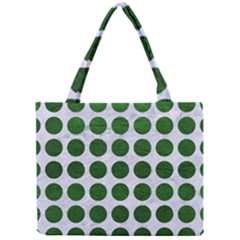 Circles1 White Marble & Green Leather (r) Mini Tote Bag