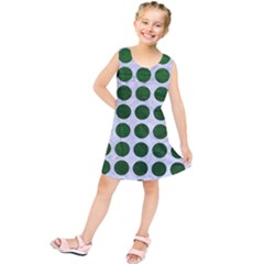 Circles1 White Marble & Green Leather (r) Kids  Tunic Dress