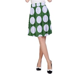 Circles1 White Marble & Green Leather A Line Skirt