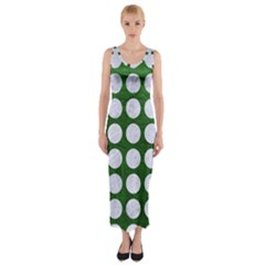 Circles1 White Marble & Green Leather Fitted Maxi Dress