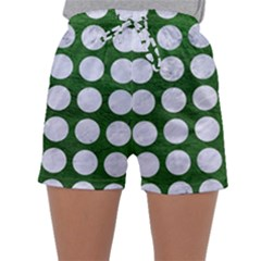 Circles1 White Marble & Green Leather Sleepwear Shorts