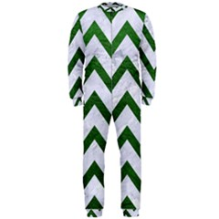 Chevron9 White Marble & Green Leather (r) Onepiece Jumpsuit (men)
