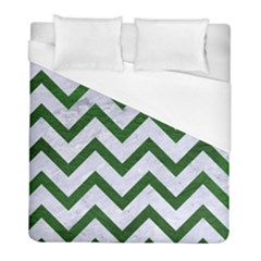 Chevron9 White Marble & Green Leather (r) Duvet Cover (full/ Double Size) by trendistuff