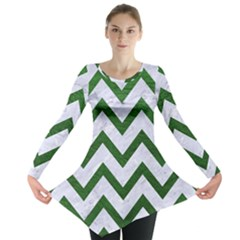Chevron9 White Marble & Green Leather (r) Long Sleeve Tunic