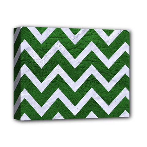 Chevron9 White Marble & Green Leather Deluxe Canvas 14  X 11