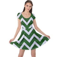 Chevron9 White Marble & Green Leather Cap Sleeve Dress