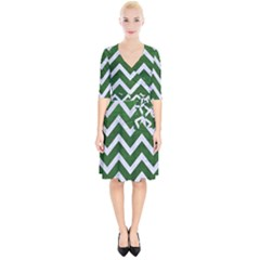 Chevron9 White Marble & Green Leather Wrap Up Cocktail Dress by trendistuff