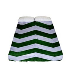 Chevron3 White Marble & Green Leather Fitted Sheet (full/ Double Size)