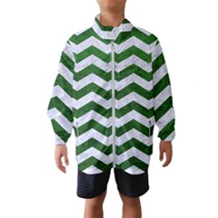 Chevron3 White Marble & Green Leather Windbreaker (kids)
