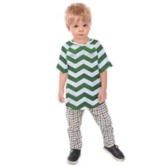Chevron3 White Marble & Green Leather Kids Raglan Tee