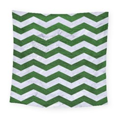 Chevron3 White Marble & Green Leather Square Tapestry (large) by trendistuff