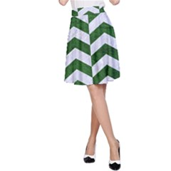 Chevron2 White Marble & Green Leather A Line Skirt