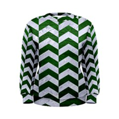 Chevron2 White Marble & Green Leather Women s Sweatshirt