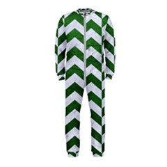 Chevron2 White Marble & Green Leather Onepiece Jumpsuit (kids)