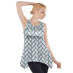 Brick2 White Marble & Green Leather (r) Side Drop Tank Tunic