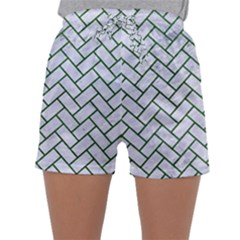 Brick2 White Marble & Green Leather (r) Sleepwear Shorts