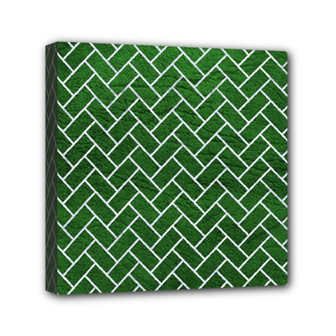 Brick2 White Marble & Green Leather Mini Canvas 6  X 6