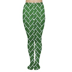 Brick2 White Marble & Green Leather Women s Tights