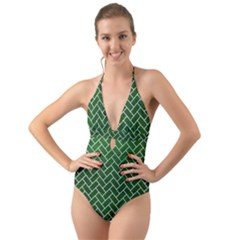 Brick2 White Marble & Green Leather Halter Cut Out One Piece Swimsuit