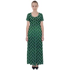 Brick2 White Marble & Green Leather High Waist Short Sleeve Maxi Dress