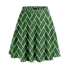 Brick2 White Marble & Green Leather High Waist Skirt